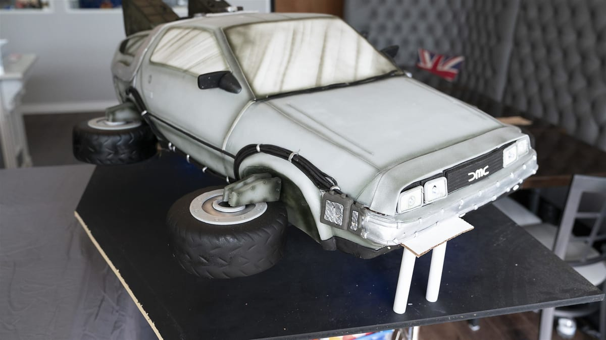 Cakes go back in time as bakers create dinosaur and DeLorean cakes.